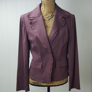 J Jill Ribbon Lined Mauve Wool Blend Blazer Jacket